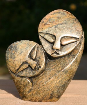 Soapstone Mother and Child