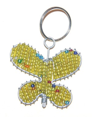 Lime Coloured Flat Butterfly Key Chain