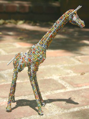 Multi Coloured Beaded Wire Giraffe
