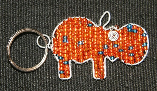 Orange Hippo Beaded Wire Key Chain