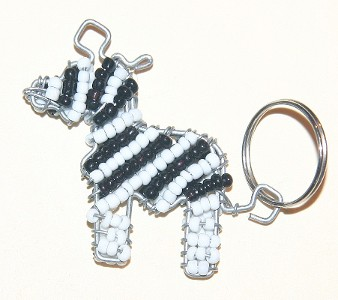 Zebra Beaded Wire Key Chain