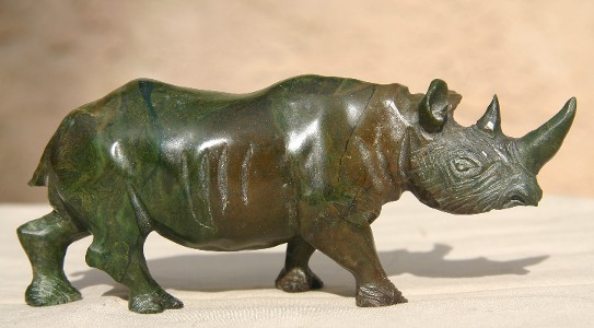 Lovely Brown and Green Verdite Rhino